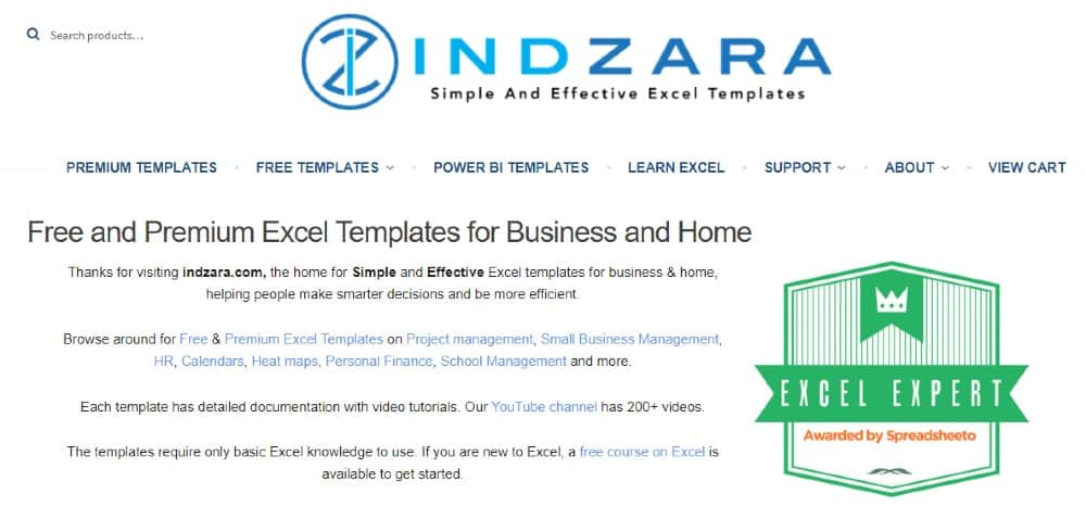Screenshot of Indzara Simple and Effective Excel Templates