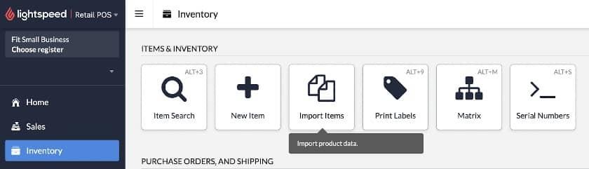 Screenshot of Lightspeed Inventory