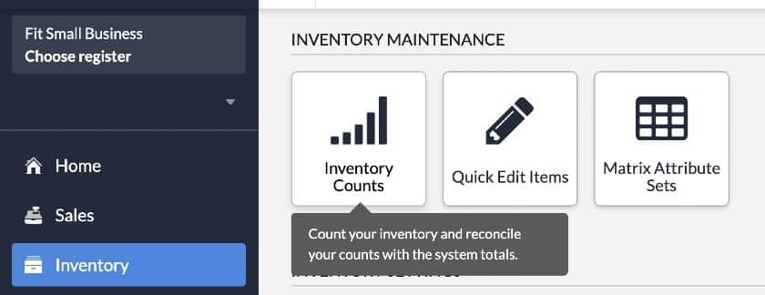 Screenshot of Lightspeed Inventory Counts Options on Inventory