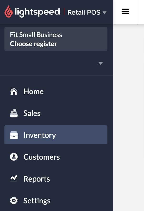 Screenshot of Lightspeed Inventory Navigation
