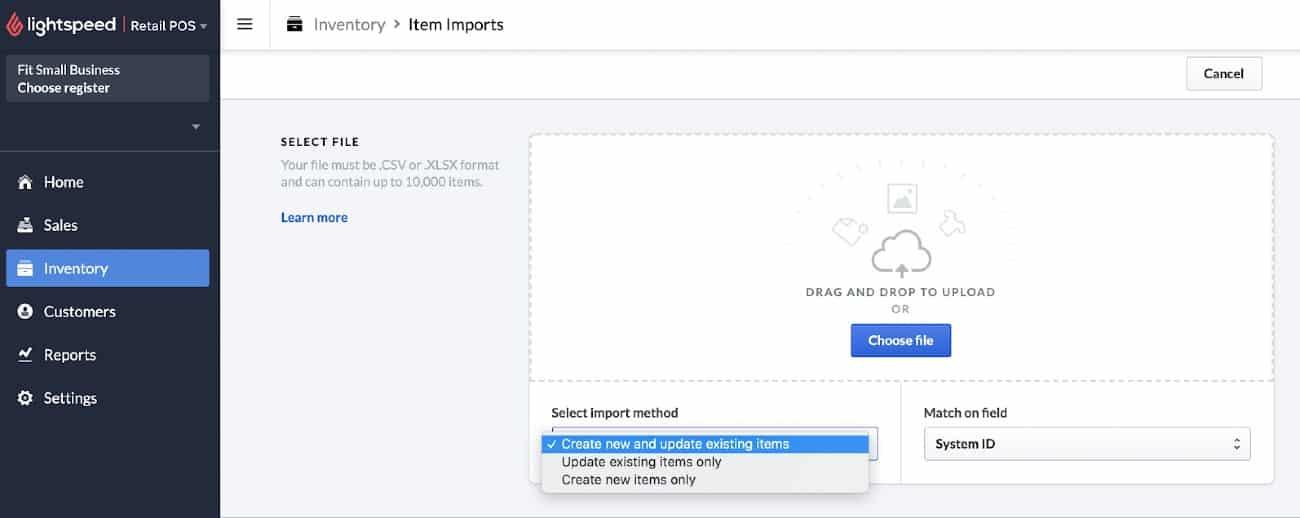 Screenshot of Lightspeed Item Imports