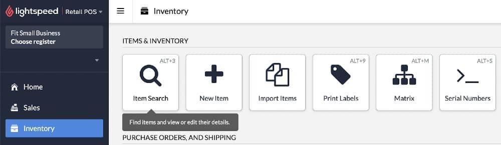 Screenshot of Lightspeed Item Search Option on Inventory