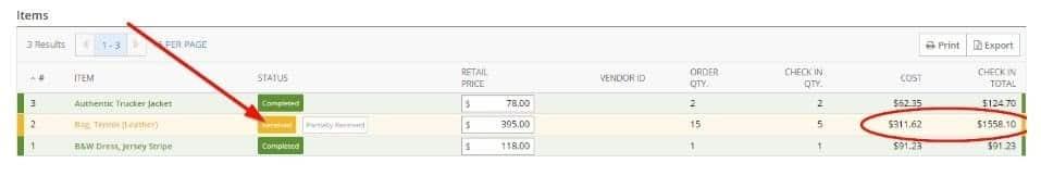 Screenshot of Lightspeed Purchase Orders Status
