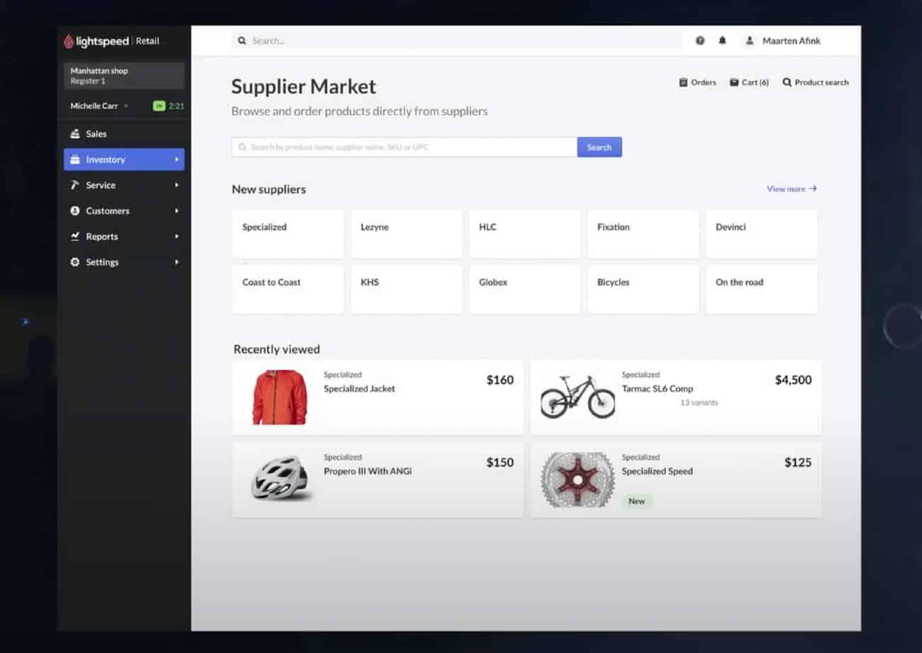 Screenshot of Lightspeed Supplier Market