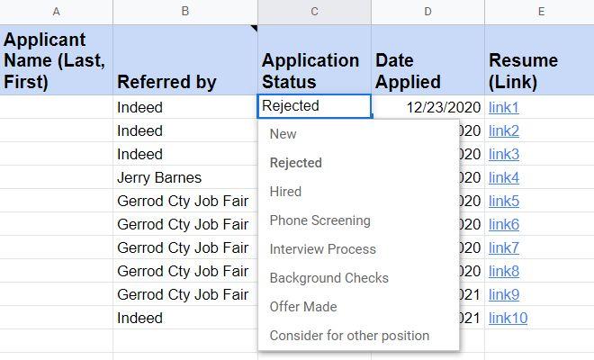 Screenshot of Recruitment Applicant Tracker Application Status Column