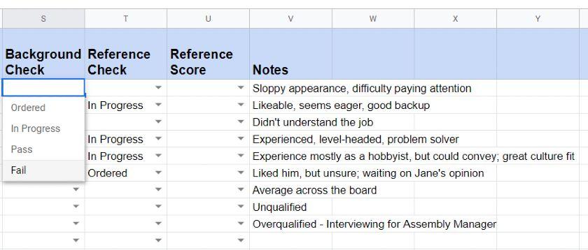 Screenshot of Recruitment Applicant Tracker Background Check Column