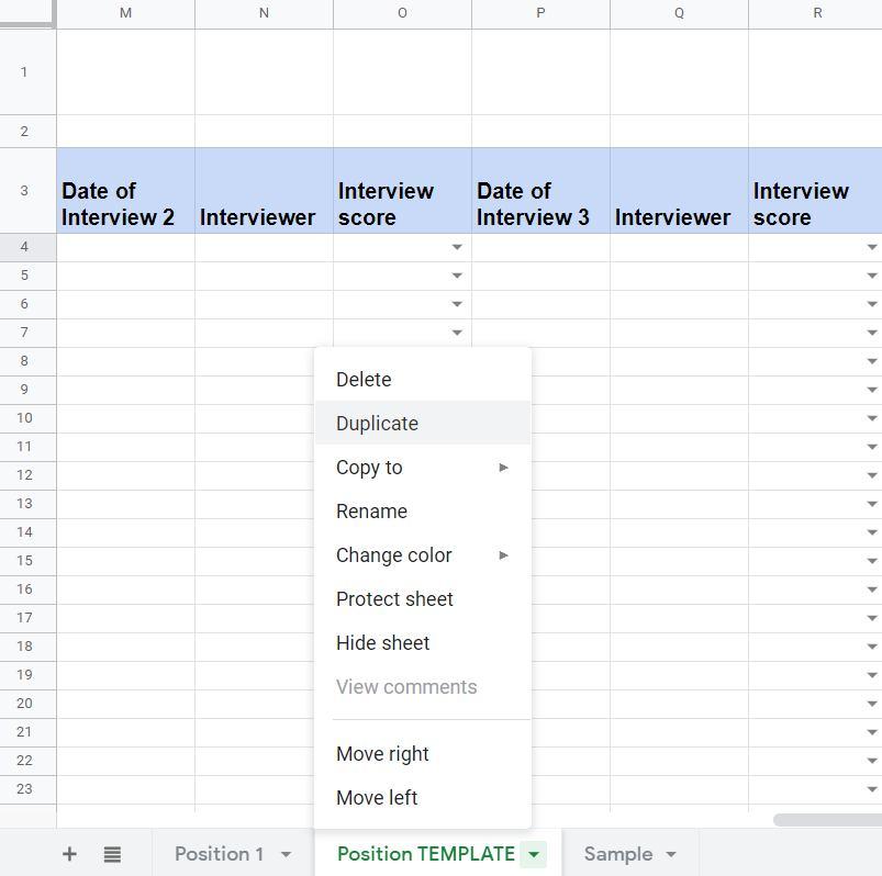 Screenshot of Recruitment Applicant Tracker Position