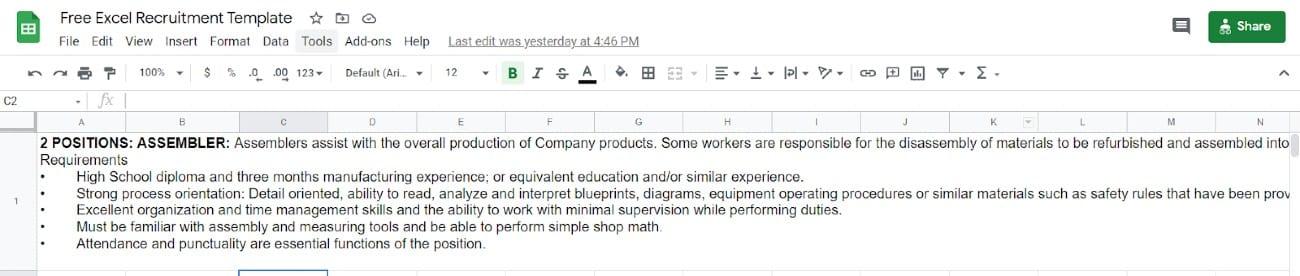 Screenshot of Recruitment Applicant Tracker Requirements