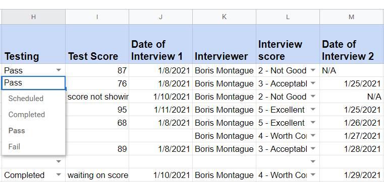 Screenshot of Recruitment Applicant Tracker Testing Column
