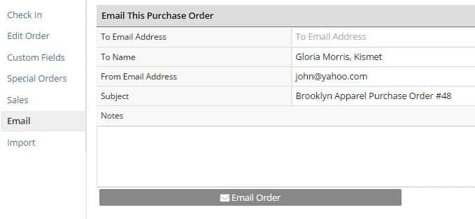 Screenshot of Selecting Email to Purchase Order