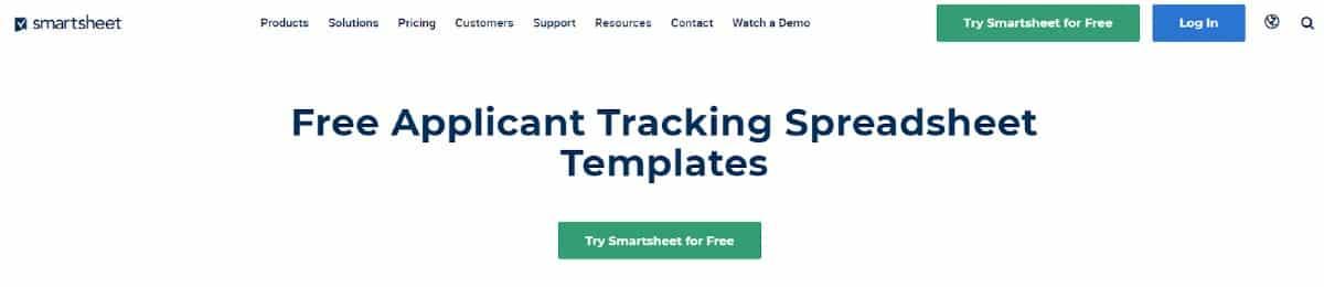 Screenshot of Smartsheet Free Applicant Tracking Spreadsheet Templates
