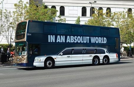 Absolut Marketing message on a bus