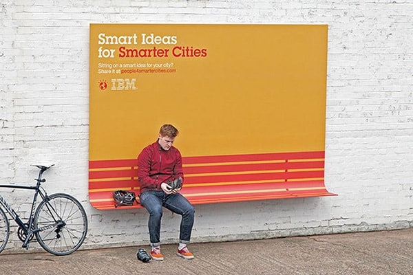 billboard with additional purpose as bench