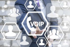 VOIP concept. Business man push the button on virtual touch pad