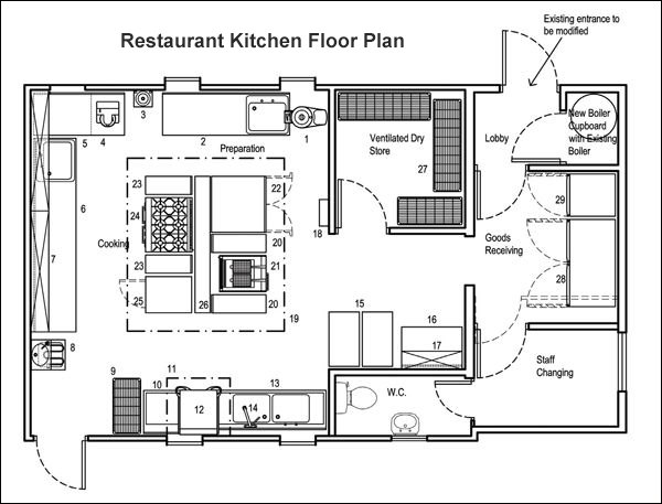 Restaurant Kitchen Floor Plan with Storage and Delivery Areas