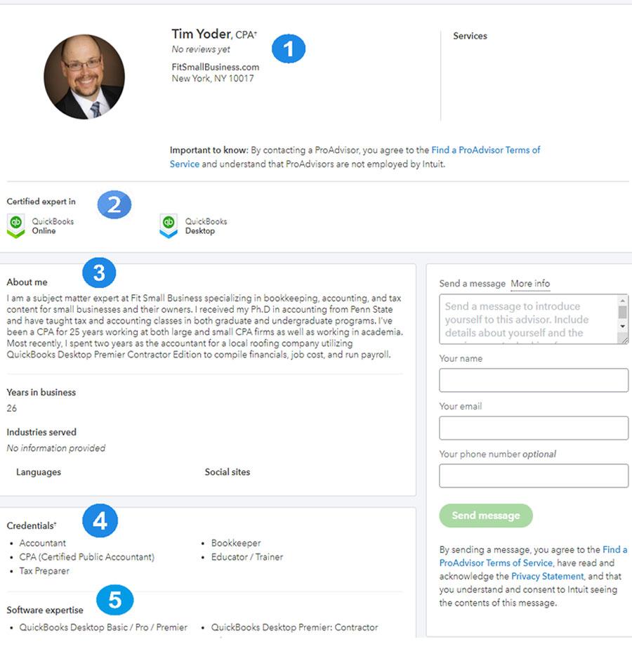 QuickBooks ProAdvisor Profile Page