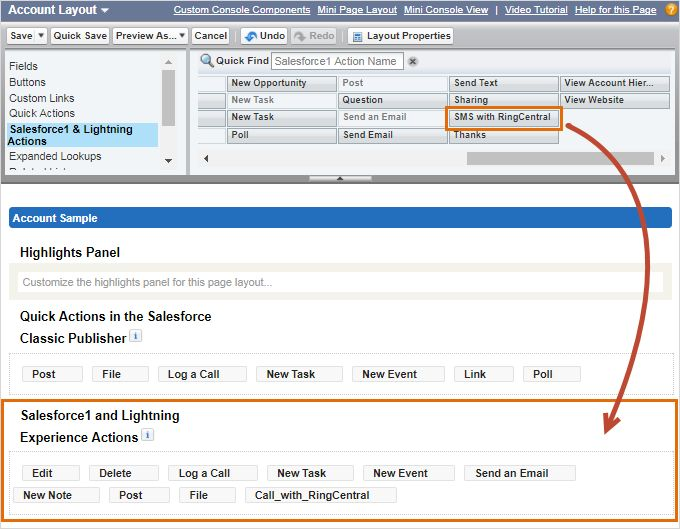 Account Layout SMS with RingCentral