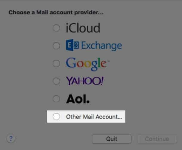 Apple - Choose a Mail account provider