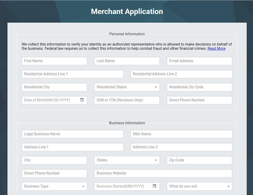 Screenshot of CDGcommerce online application
