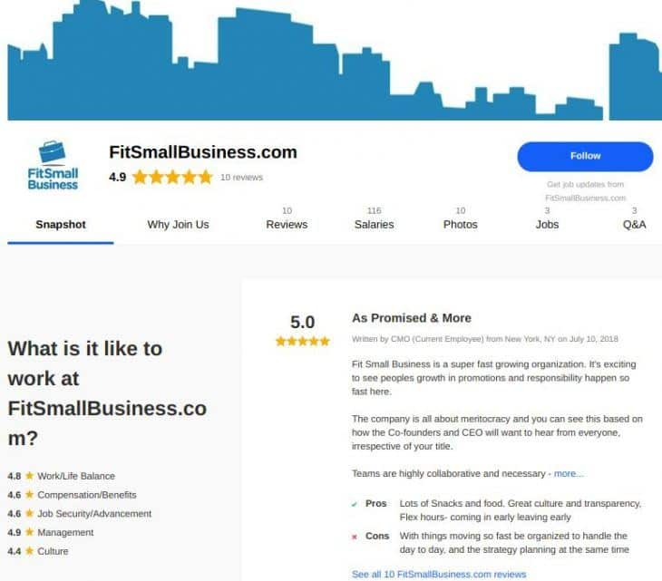 Screenshot of Fit Small Business' company page on Indeed