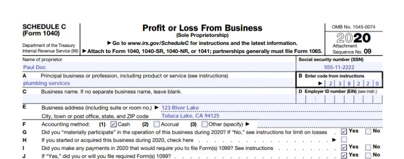 Form 1040, Schedule C, Header Information