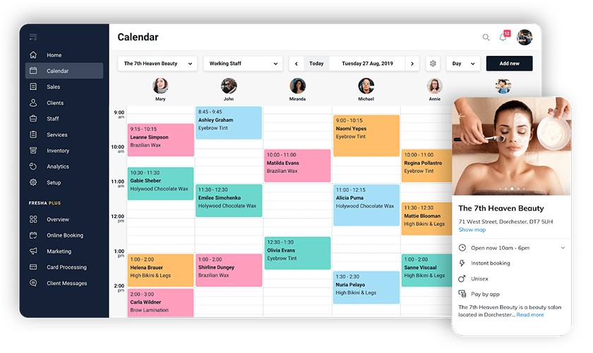 Screenshot of Fresha Booking Calendar