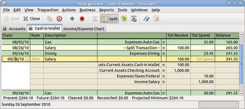 Screenshot of GnuCash checkbook-style register