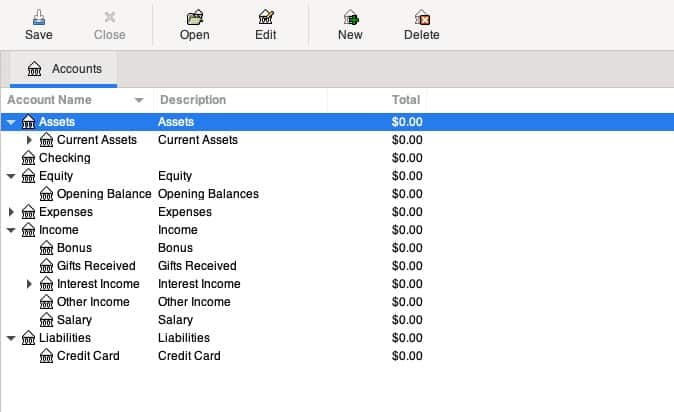 Screenshot of GnuCash main window toolbar