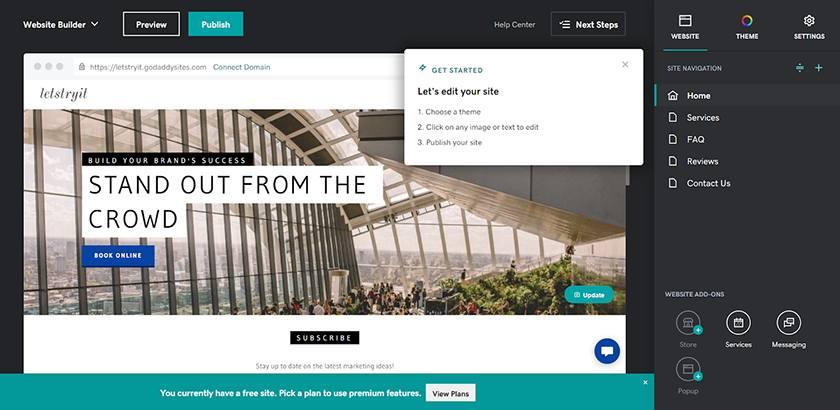 Screenshot of Godaddy website builder