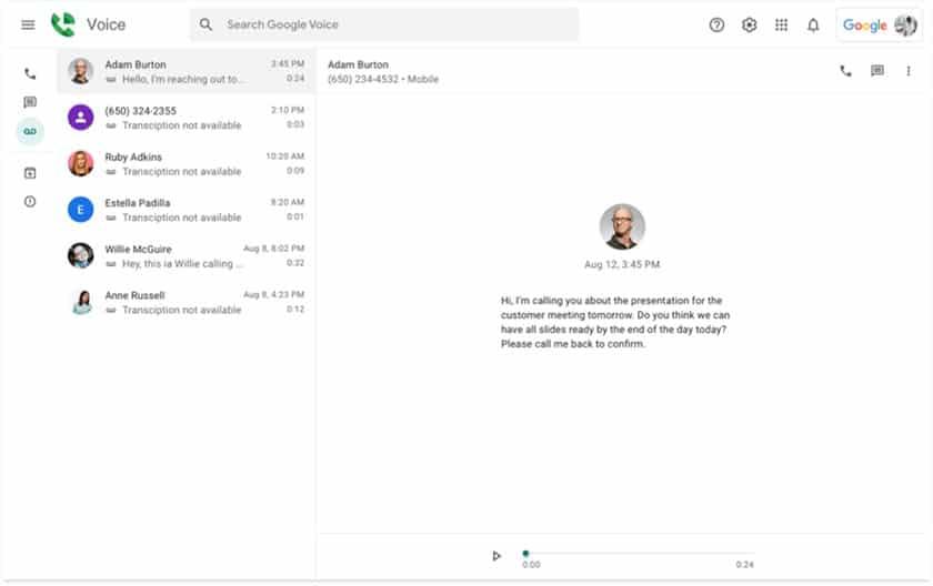 Screenshot of Google Voice transcriptions of voice messages