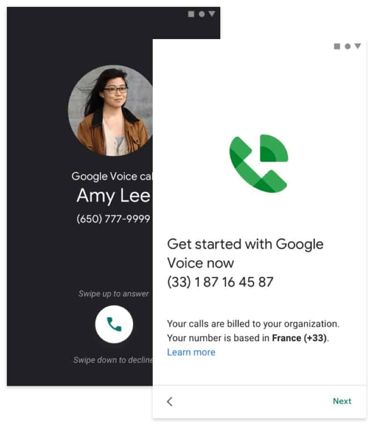 Google Voice user phone number sample