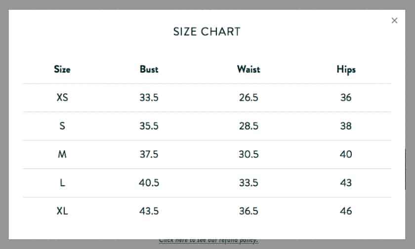 Lightbox Size Chart