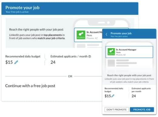 Screenshot of LinkedIn promoting job posts