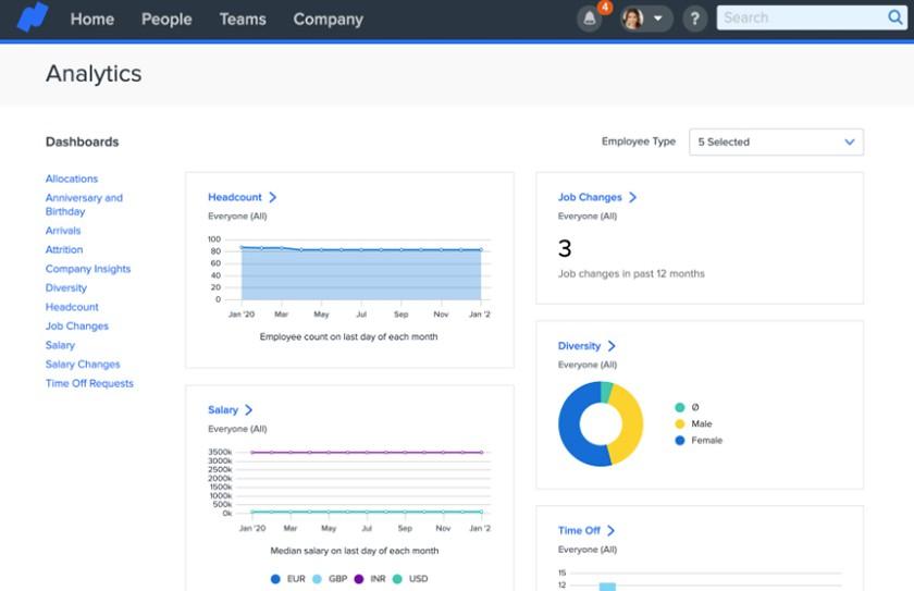 Screenshot of Namely analytics