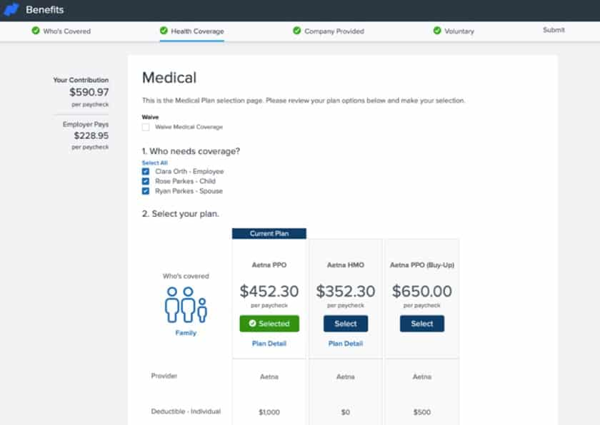 Screenshot of Namely benefits administration