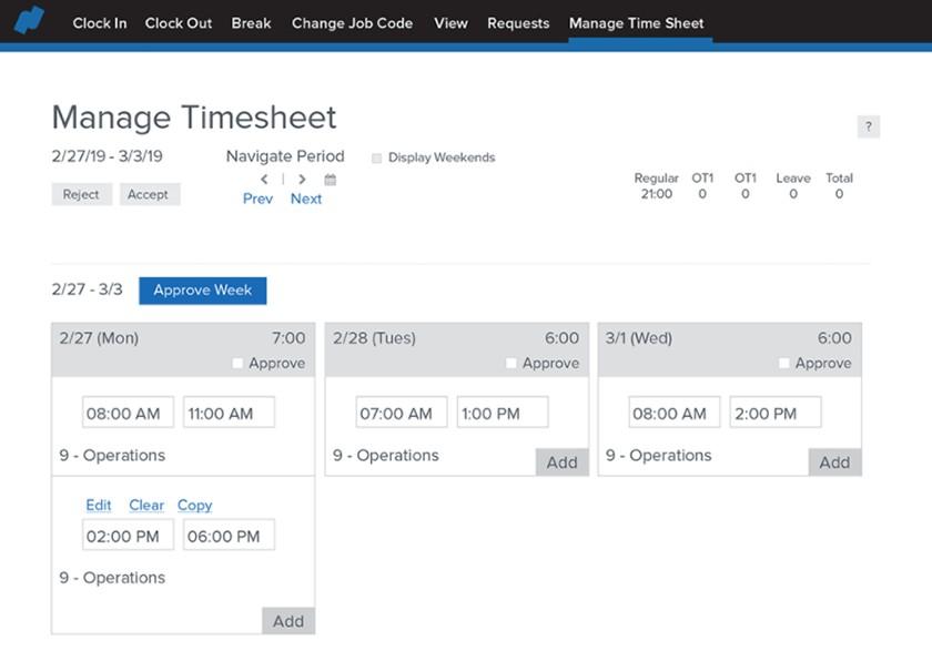 Screenshot of Namely manage timesheet dashboard