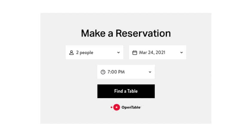 OpenTable Make a reservation form
