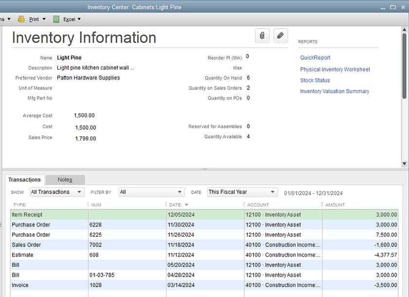 Screenshot of QuickBooks_Desktop_QuickBooks_Inventory dashboard Sample