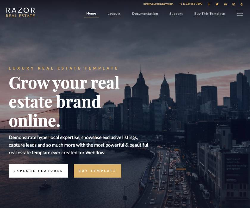 Razor Real Estate template from Webflow