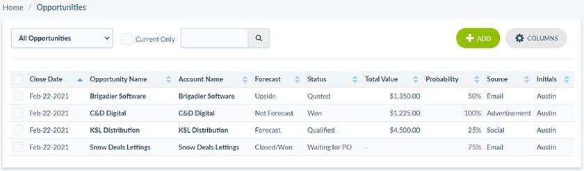 Screenshot of Really Simple Systems opportunity tracking tool