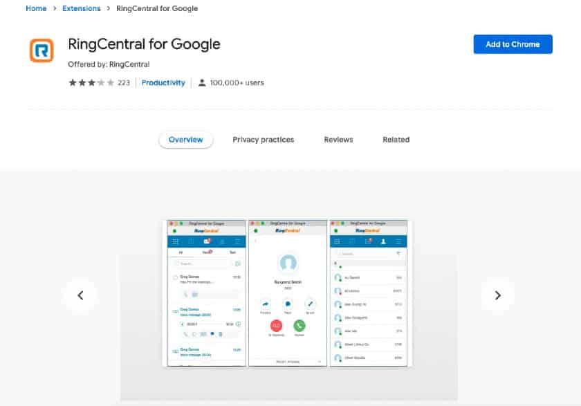RingCentral for Google page on the Chrome web store