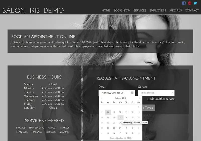 Screenshot of Salon Iris Customizing booking plugin