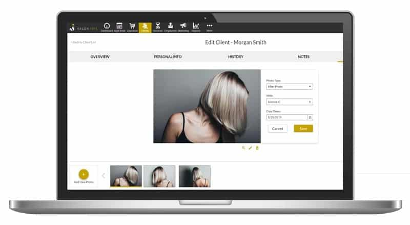 Screenshot of Salon Iris client profile sample