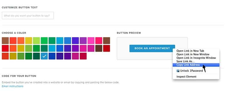 Screenshot of Square Appointments adding booking button