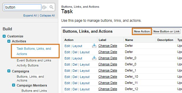 Task Buttons Links and Actions