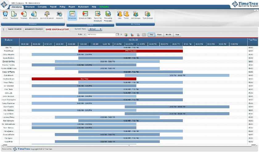 TimeTrex employee attendance tracking sample