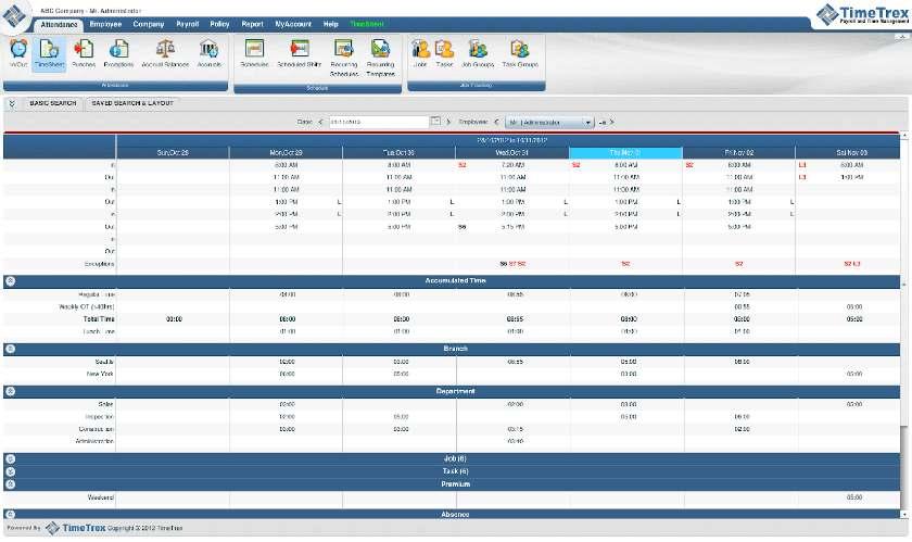 TimeTrex employee timesheet tracker sample
