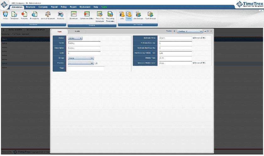 Screenshot of TimeTrex expense dashboard