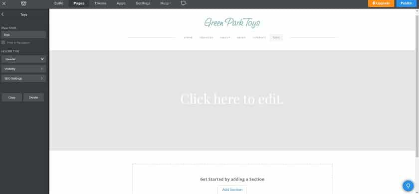 Weebly Website Builder Interface