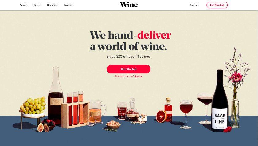 Winc Landing Page